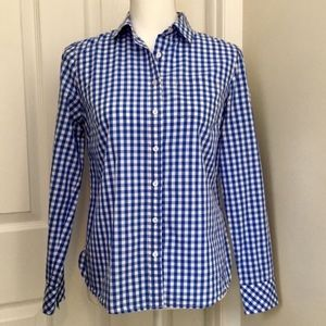 TALBOTS Blue and White Gingham Button Down Shirt
